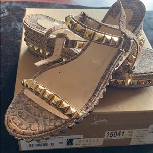 Christian Louboutin gold stubbed sandals